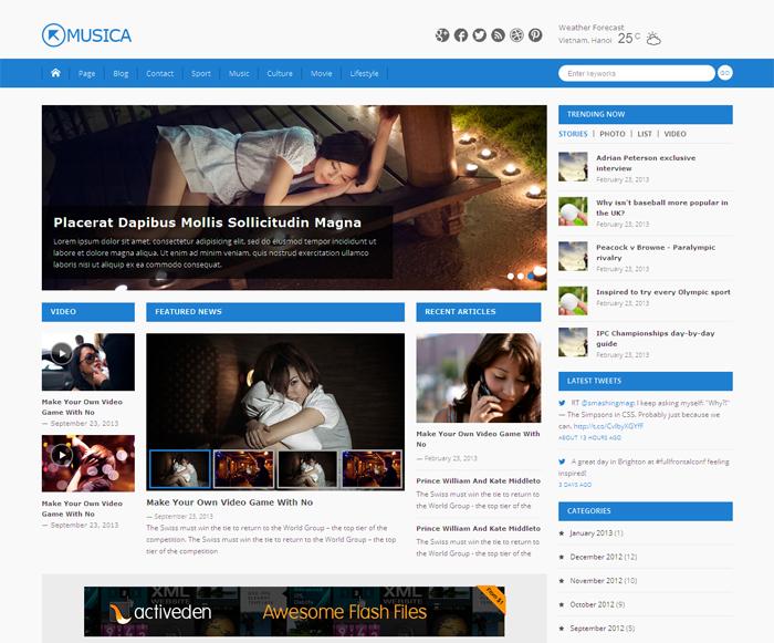 Free WordPress Theme: Musica | Doteasy WordPress Resources Website ...