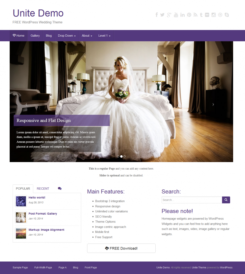 Free WordPress Theme: Unite | Doteasy WordPress Resources Website ...