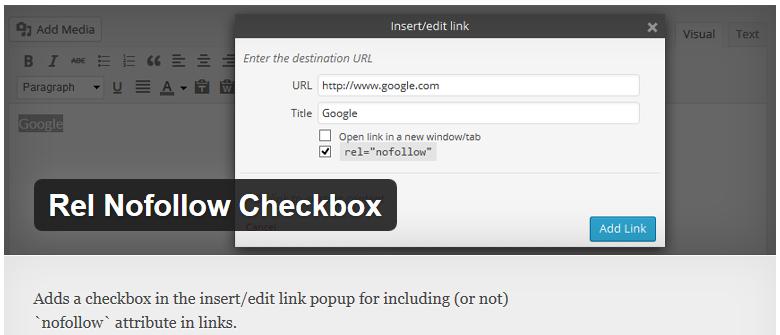 rel nofollow checkbox plugin