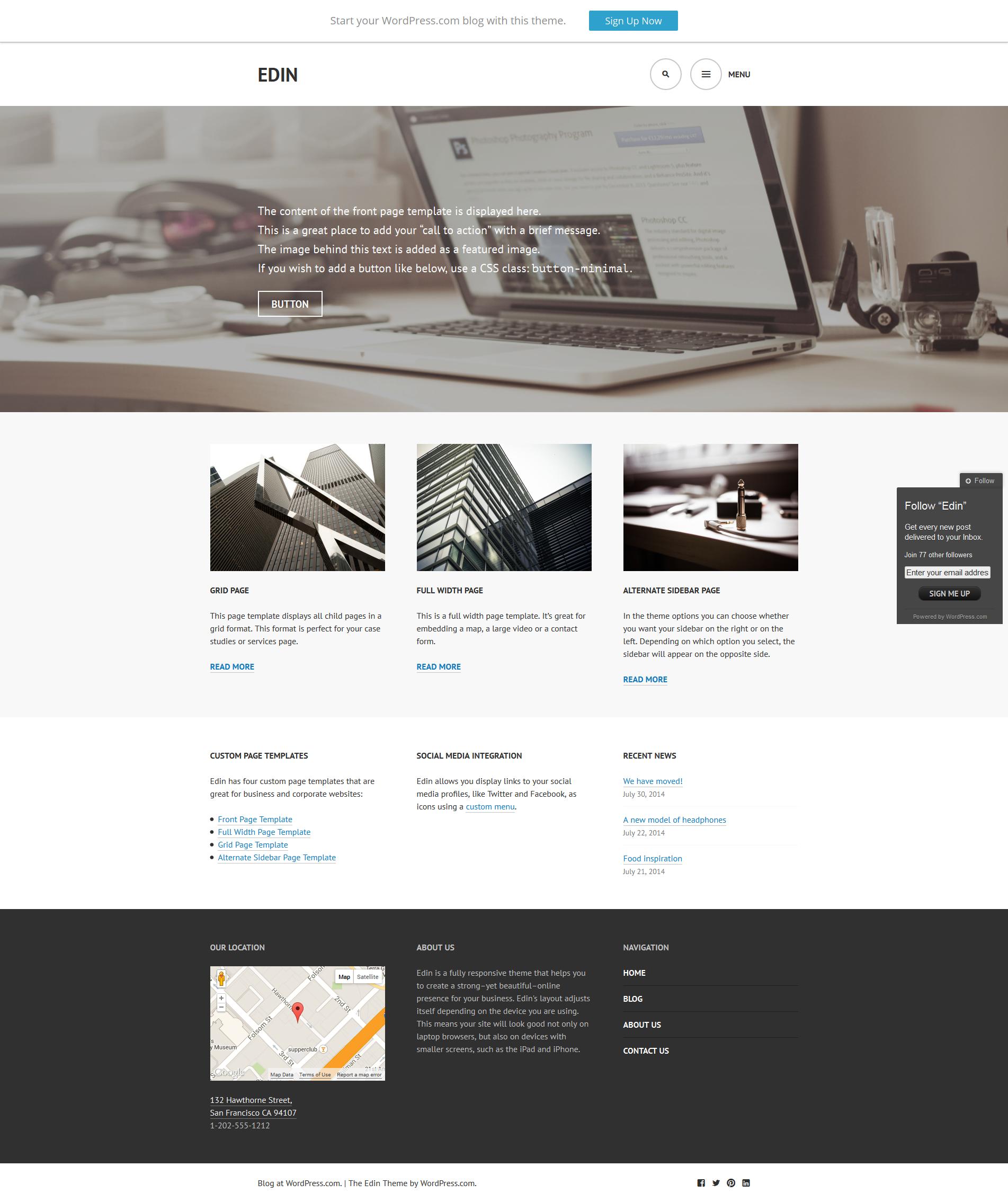 Free WordPress Theme: Edin | Doteasy WordPress Resources