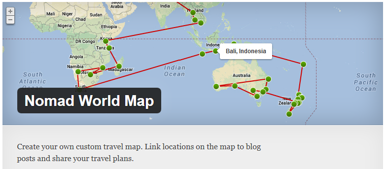 Free WordPress Plugin Nomad World Map Doteasy WordPress Resources - Create your own travel map