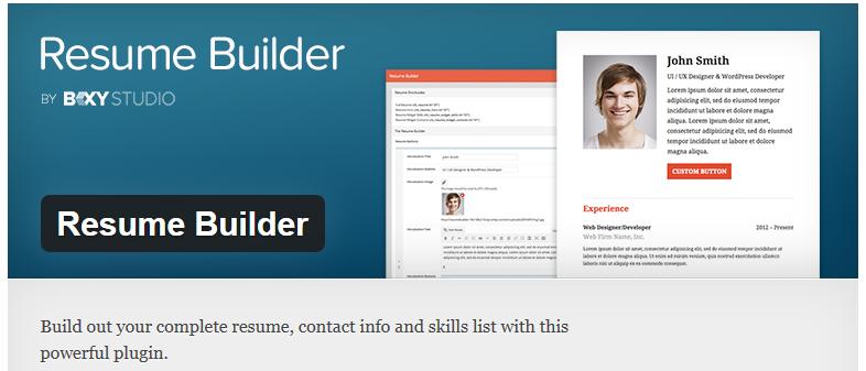 free wordpress plugin  resume builder