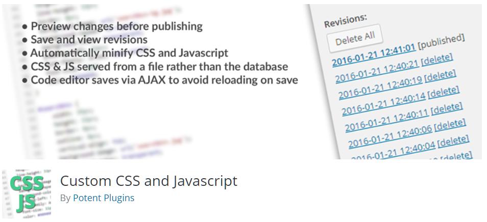 Free WordPress Plugin: Custom CSS and Javascript   Doteasy
