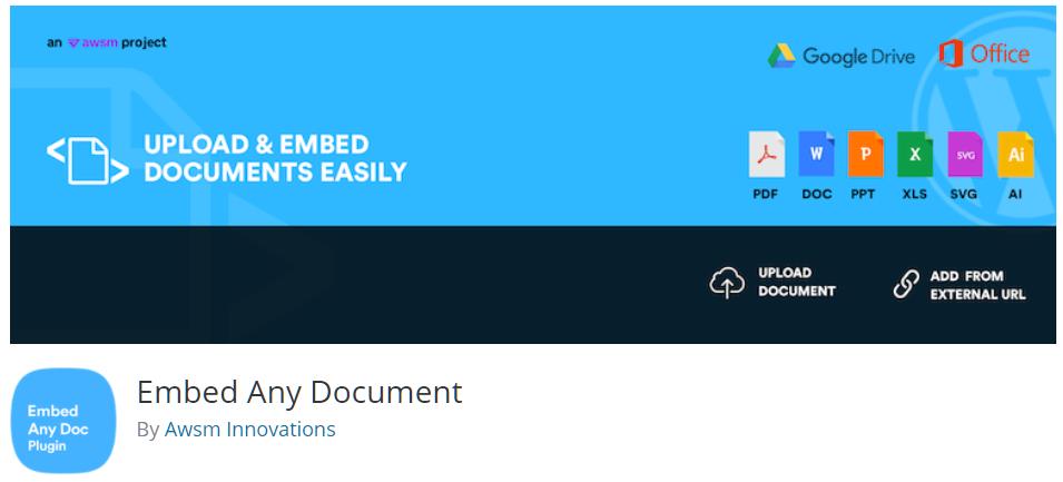 Free WordPress Plugin: Embed Any Document