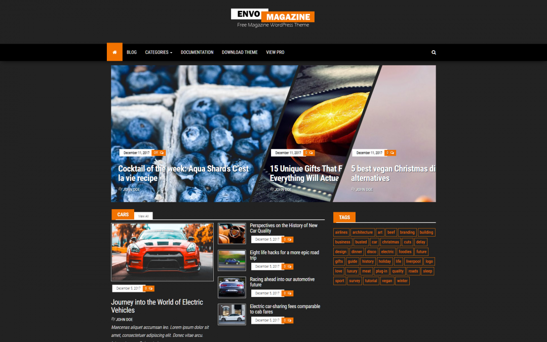 Free WordPress Theme: Envo Magazine Dark