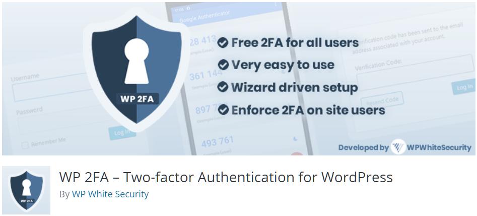 Free WordPress Plugin: WP 2FA – Two-factor Authentication for WordPress