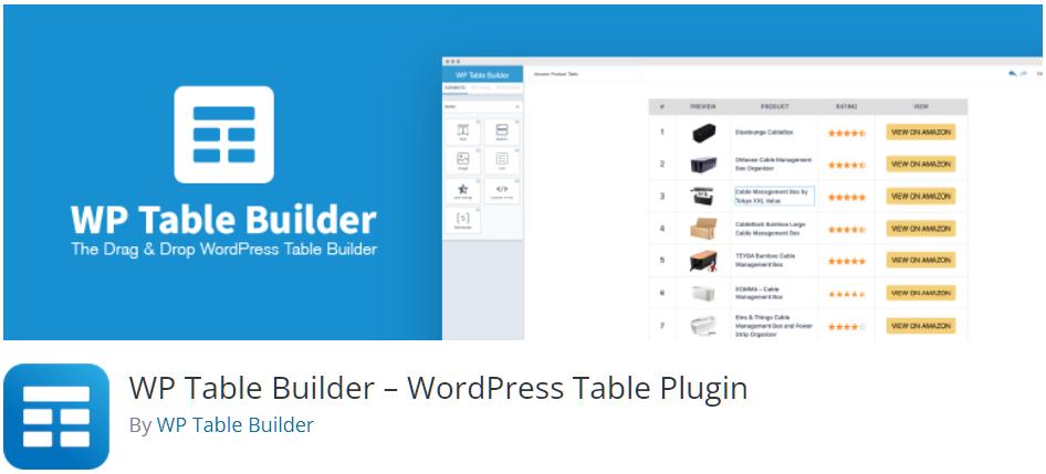 Free WordPress Plugin: WP Table Builder – WordPress Table Plugin